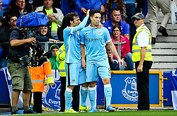 Samir Nasri of Manchester City celebrates his sides second goal with David Silva - Mandatory byline: Matt McNulty/JMP - 07966386802 - 23/08/2015 - FOOTBALL - Goodison Park -Everton,England - Everton v Manchester City - Barclays Premier League