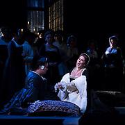 September 23, 2015 - New York, NY : In foreground from left, Jamie Barton (as Jane {Giovanna} Seymour) and Sondra Radvanovsky (as Ann Bolena) perform in a dress rehearsal for Gaetano Donizetti's 'Anne Bolena' at the Metropolitan Opera at Lincoln Center on Wednesday. CREDIT: Karsten Moran for The New York Times