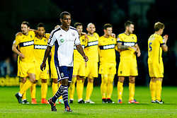 Andre Wisdom of West Brom looks nervous as he steps up to take a penalty in the shootout  but scores - Photo mandatory by-line: Rogan Thomson/JMP - 07966 386802 - 26/08/2014 - SPORT - FOOTBALL - The Hawthorns, West Bromwich - West Bromwich Albion v Oxford United - Capital One Cup Round 2.