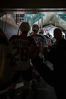 KELOWNA, CANADA - DECEMBER 27: The Kelowna Rockets' enter the ice against the Kamloops Blazers on December 27, 2017 at Prospera Place in Kelowna, British Columbia, Canada.  (Photo by Marissa Baecker/Shoot the Breeze)  *** Local Caption ***