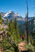 A glacier tops Mount Victoria North Peak, seen from Paget Peak Trail in Yoho National Park, British Columbia, Canada.