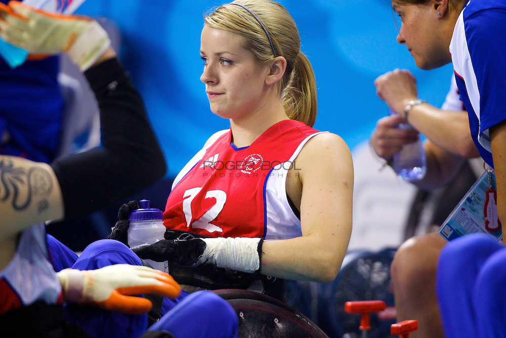 Josie Pearson of Great Britain in the quad rugby semi final against the USA in the USTB Gymnasium at the Paralympic games, Beijing, China.  15th  September 2008