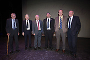 Pat Liney, Lawrie Smith, Craig Brown, Kenny Ross (compere), Ian Ure and Alan Gilzean - Dundee FC night of champions at the Whitehall Theatre, Dundee, Photo: David Young<br /> <br />  - &copy; David Young - www.davidyoungphoto.co.uk - email: davidyoungphoto@gmail.com