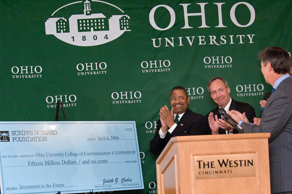 17601Scripps Howard Foundation Announcement of 15 million dollar gift to the College of Communication at the Westin in Cincinnati 4/4/06...Dr. Roderick J. McDavis, president of Ohio University.Dr. Gregory J. Shepherd, Dean of the College of Communication.Mr. Kenneth W. Lowe, president and CEO of The E.W. Scripps Company