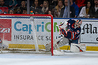 KELOWNA, BC - JANUARY 11: Dylan Garand #31 of the Kamloops Blazers clears the puck from the zone against the Kelowna Rockets at Prospera Place on January 11, 2020 in Kelowna, Canada. (Photo by Marissa Baecker/Shoot the Breeze)