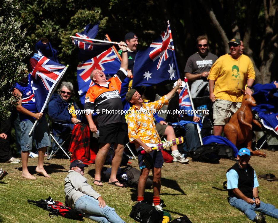 Australian fans celebrate victory.<br /> 1st cricket test match - New Zealand Black Caps v Australia, day five at the Basin Reserve, Wellington. Tuesday, 23 March 2010. Photo: Dave Lintott/PHOTOSPORT