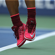 2017 U.S. Open Tennis Tournament - DAY FOURTEEN.  The feet of Rafael Nadal of Spain as he serves against Kevin Anderson of South Africa in the Men's Singles Final at the US Open Tennis Tournament at the USTA Billie Jean King National Tennis Center on September 10, 2017 in Flushing, Queens, New York City.  (Photo by Tim Clayton/Corbis via Getty Images)