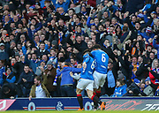 Ryan Jack (#8) of Rangers FC celebrates his goal 1-0 with Connor Goldson (#6) of Rangers FC during the Ladbrokes Scottish Premiership match between Rangers and Celtic at Ibrox, Glasgow, Scotland on 29 December 2018.