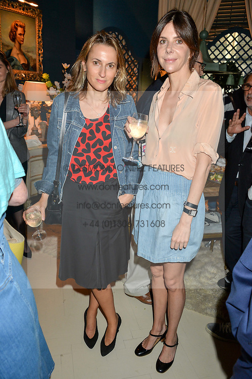 Left to right, CHRISTINE D'ORNANO and HENRIETTA CHANNON at a party to celebrate the publication of 'A Girl From Oz' by Lyndall Hobbs held at Flat 1, 165 Cromwell Road, London on 12th May 2016.