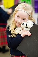 "21/01/2016 Lily Anna Coyne Pender,  with ""Spot""  from Carnmore NS at the 11th Annual Teddy Bear Hospital in NUI, Galway where Med students get used to dealing with kids and Kids get used to a hospital setting with their sick teddy bears.Photo:Andrew Downes"