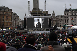 """© Licensed to London News Pictures. 26/02/2017. London, UK. The special premiere free screening of the Oscar-nominated, Best Foreign Language Film, """"The Salesman"""", in Trafalgar Square, hosted by Mayor of London, Sadiq Khan.  The film's Iranian director, Asghar Farhadi, decided to boycott tonight's main Oscars ceremony in Hollywood, in solidarity with those affected by President Donald Trump's travel ban on people from seven Muslim majority countries (including Iran) from entering the USA.   Photo credit : Stephen Chung/LNP"""