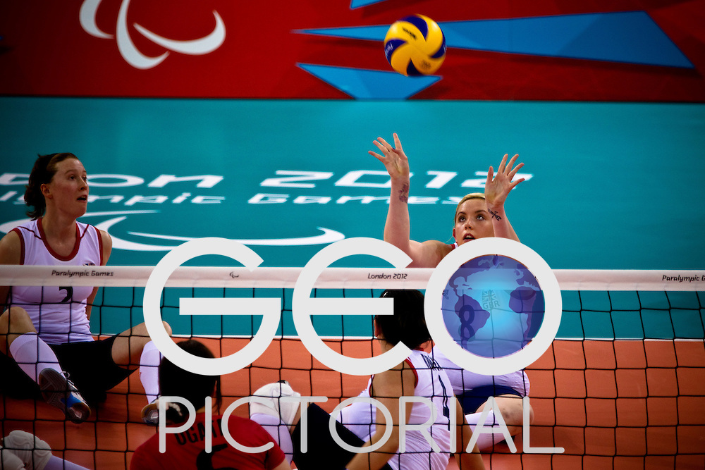 Amy Brierly (no.8) in action during the GBR vs JPN sitting volleyball preliminary rounds during the London 2012 Paralympic Games; 2nd September 2012;
