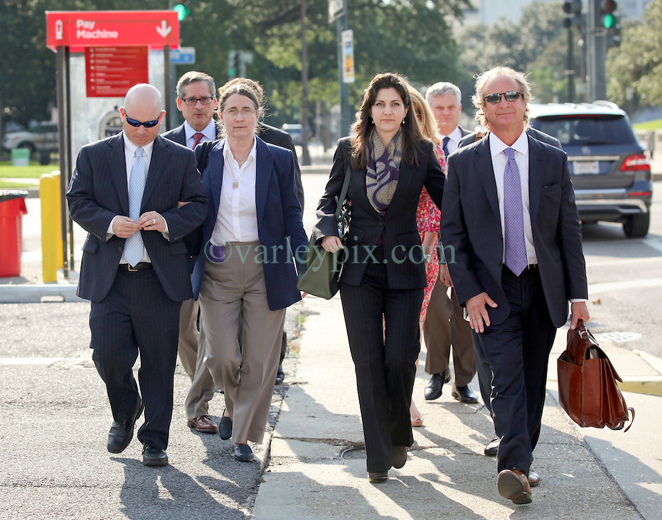 03 June  2015. New Orleans, Louisiana. <br /> L/R Ryan LeBlanc, his mother Renee LeBlanc, Rita Benson LeBlanc and attorney Randy Smith leave Civil Distrcit Court where they attended day 3 of a hearing to determine the competency of grandfather/father Tom Benson. Benson is the billionaire owner of the NFL New Orleans Saints, the NBA New Orleans Pelicans, various auto dealerships, banks, property assets and a slew of business interests. Rita, her brother and mother demanded a competency hearing after Benson changed his succession plans and decided to leave the bulk of his estate to third wife Gayle, sparking a controversial fight over control of the Benson business empire.<br /> Photo©; Charlie Varley/varleypix.com