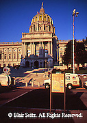 PA Capitol, TV Station Trucks, 1990,  Joseph, Huston, Architect, Harrisburg, Pennsylvania