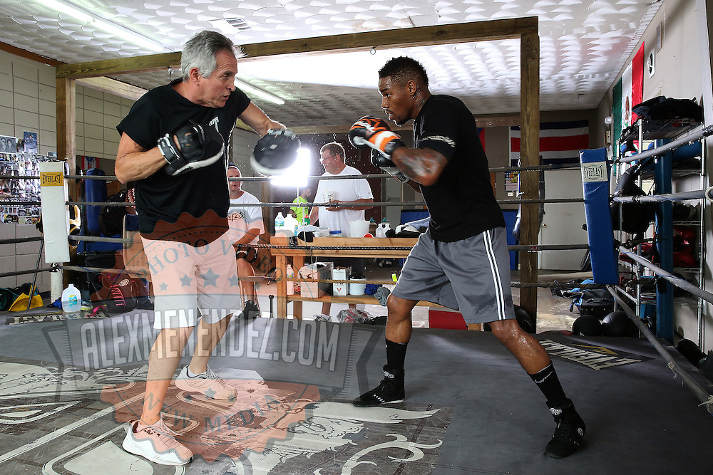 "WINTER HAVEN, FL - MAY 05: Boxer Willie Monroe Jr. (R) trains with Danny Akers at the Winter Haven Boxing Gym on May 5, 2015 in Winter Haven, Florida. Monroe will challenge middleweight world champion Gennady ""GGG"" Golovkin for the WBA world championship title in Los Angeles on May 16.  (Photo by Alex Menendez/Getty Images) *** Local Caption *** Willie Monroe Jr.; Danny Akers"