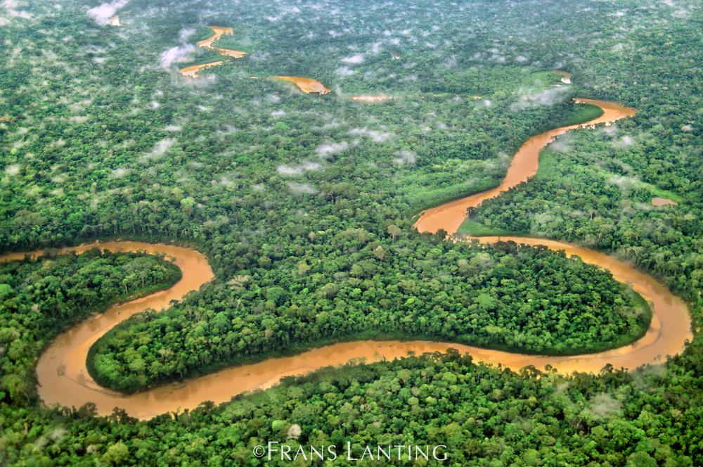 Meandering river through lowland rainforest (aerial), Tambopata National Reserve, Peru