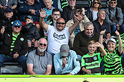 FGR supporters during the EFL Sky Bet League 2 match between Forest Green Rovers and Grimsby Town FC at the New Lawn, Forest Green, United Kingdom on 17 August 2019.