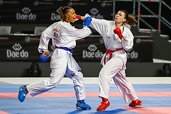 November 10, 2018 - Madrid, Madrid, Spain - Antunovic Hana (SWE) figth with Florentin Anne Laure (FRA) for third place of Female Kumite 68+ Kg during the Finals of Karate World Championship celebrates in Wizink Center, Madrid, Spain, on November 10th, 2018. (Credit Image: © AFP7 via ZUMA Wire)