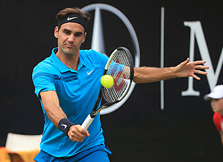 STUTTGART, June 17, 2018  Roger Federer of Switzerland returns a shot during the singles final against Milos Raonic of Canada at ATP Mercedes Cup tennis tournament in Stuttgart, Germany on June 17, 2018. Roger Federer won 2-0 to claim the title. (Credit Image: © Philippe Ruiz/Xinhua via ZUMA Wire)