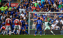 CARDIFF, WALES - Sunday, September 2, 2018: Cardiff City's goalkeeper Neil Etheridge is beaten as Arsenal's Shkodran Mustafi (left) scores the first goal during the FA Premier League match between Cardiff City FC and Arsenal FC at the Cardiff City Stadium. (Pic by David Rawcliffe/Propaganda)