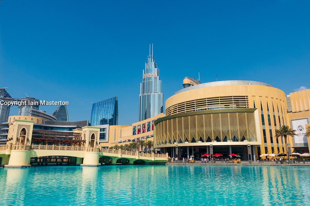 Daytime view of Dubai Mall exterior in Downtown Dubai, United Arab Emirates, UAE