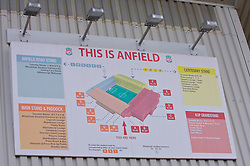 LIVERPOOL, ENGLAND - Saturday, January 26, 2008: A map of Liverpool famous Anfield stadium hangs on the wall of the Main Stand. (Photo by David Rawcliffe/Propaganda)