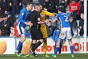 Controversy, penalty awarded then overruled Shrewsbury penalty during the EFL Sky Bet League 1 match between Rochdale and Shrewsbury Town at Spotland, Rochdale, England on 30 March 2018. Picture by Daniel Youngs.
