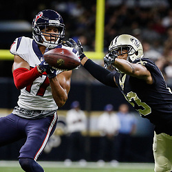 Aug 26, 2017; New Orleans, LA, USA; New Orleans Saints cornerback Marshon Lattimore (23) knocks a pass away from Houston Texans wide receiver Dres Anderson (17) during the first quarter of a preseason game at the Mercedes-Benz Superdome. Mandatory Credit: Derick E. Hingle-USA TODAY Sports