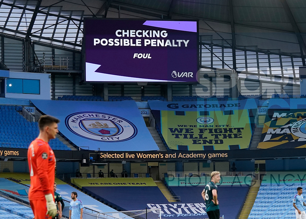 VAR announce a penalty check during the Premier League match at the Etihad Stadium, Manchester. Picture date: 22nd February 2020. Picture credit should read: Andrew Yates/Sportimage