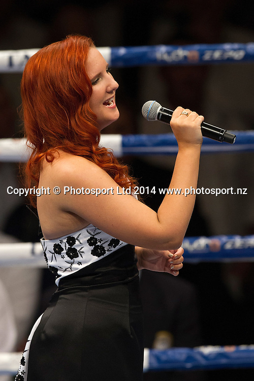 The National Anthems are sung at the Hydr8 Zero Heavyweight Explosion, Vodafone Events Centre, Auckland, New Zealand, Saturday, July 05, 2014. Photo: David Rowland/Photosport