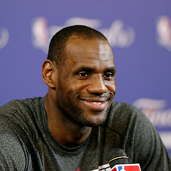 Jun 7, 2013; Miami, FL, USA; Miami Heat small forward LeBron James addresses the media prior to practice at the American Airlines Arena. Mandatory Credit: Derick E. Hingle-USA TODAY Sports