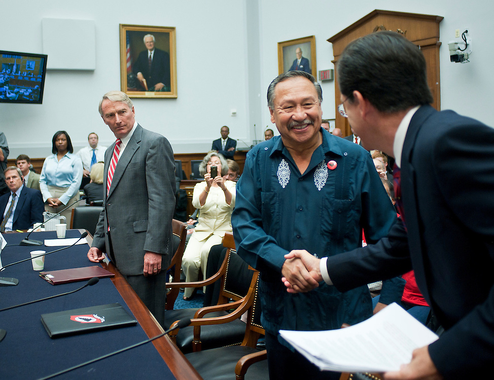 """Sep 24, 2010 - Washington, District of Columbia, U.S., - .Arturo Rodriguez, president of United Farm Workers, greets Political satirist and T.V. host STEPHEN COLBERT before his  testimony on Capitol Hill Friday about the conditions facing America's undocumented farm workers. The host of """"The Colbert Report"""" testified before a House Judiciary subcommittee to bring attention to the workers' hardships. (Credit Image: © Pete Marovich/ZUMA Press)"""