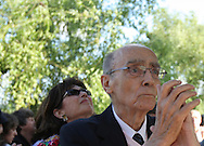 Portuguese Nobel writer Jose Saramago with his spanish wife Pilar Del Rio during a homage from saramago's home village Azinhaga (Goleg&Atilde;&pound;)<br /> Foto Paulo Cunha
