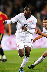 Jozy Altidore after scoring a goal  during the Semi Final soccer match of the 2009 Confederations Cup between Spain and the USA played at the Freestate Stadium,Bloemfontein,South Africa on 24 June 2009.  Photo: Gerhard Steenkamp/Superimage Media.