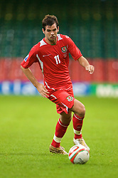 CARDIFF, WALES - Friday, September 5, 2008: Wales' Joe Ledley in action against Azerbaijan during the opening 2010 FIFA World Cup South Africa Qualifying Group 4 match at the Millennium Stadium. (Photo by David Rawcliffe/Propaganda)