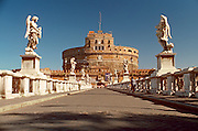 ITALY, ROME Castel Sant' Angelo; built as mausoleum for  Hadrian in 135AD, later used as a fortress with Ponte Sant' Angelo over Tiber River