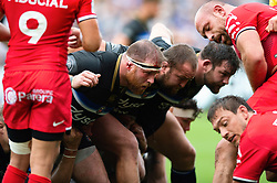 Henry Thomas of Bath Rugby prepares to scrummage against his opposite number - Mandatory byline: Patrick Khachfe/JMP - 07966 386802 - 13/10/2018 - RUGBY UNION - The Recreation Ground - Bath, England - Bath Rugby v Toulouse - Heineken Champions Cup