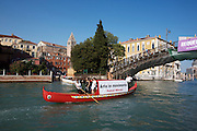 "Gondola for Patrick Mimran's ""Arte in movimento"" on Canale Grande next to Accademia bridge."