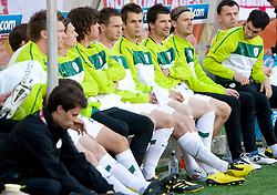 Substitutes of Slovenia Elvedin Dzinic of Slovenia, Dalibor Stevanovic of Slovenia, Goalkeeper of Slovenia Aleksander Seliga, Branko Ilic of Slovenia and Suad Filekovic of Slovenia during the 2010 FIFA World Cup South Africa Group C Third Round match between Slovenia and England on June 23, 2010 at Nelson Mandela Bay Stadium, Port Elizabeth, South Africa. England defeated Slovenia 1-0 and qualified for the next round, Slovenia not. (Photo by Vid Ponikvar / Sportida)