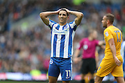 Brighton & Hove Albion winger Anthony Knockaert (11) looks frustrated, looks dejected during the EFL Sky Bet Championship match between Brighton and Hove Albion and Preston North End at the American Express Community Stadium, Brighton and Hove, England on 15 October 2016.