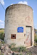 Israel, Jordan Valley, Isle of Peace at the (now unused) Naharaim Hydroelectric plant on the Israeli Jordanian border. Jordanian Pillbox guard station