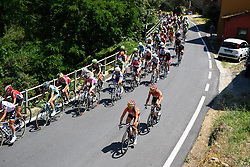 Karol-Ann Canuel and Evelyn Stevens move up the field on the first climb of the day at Giro Rosa 2016 - Stage 6. A 118.6 km road race from Andora to Alassio, Italy on July 7th 2016.