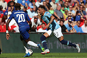 Manchester City Defender Kyle Walker (2) taking on Chelsea Callum Hudson-Odoi (20) during the FA Community Shield match between Chelsea and Manchester City at Wembley Stadium, London, England on 5 August 2018.