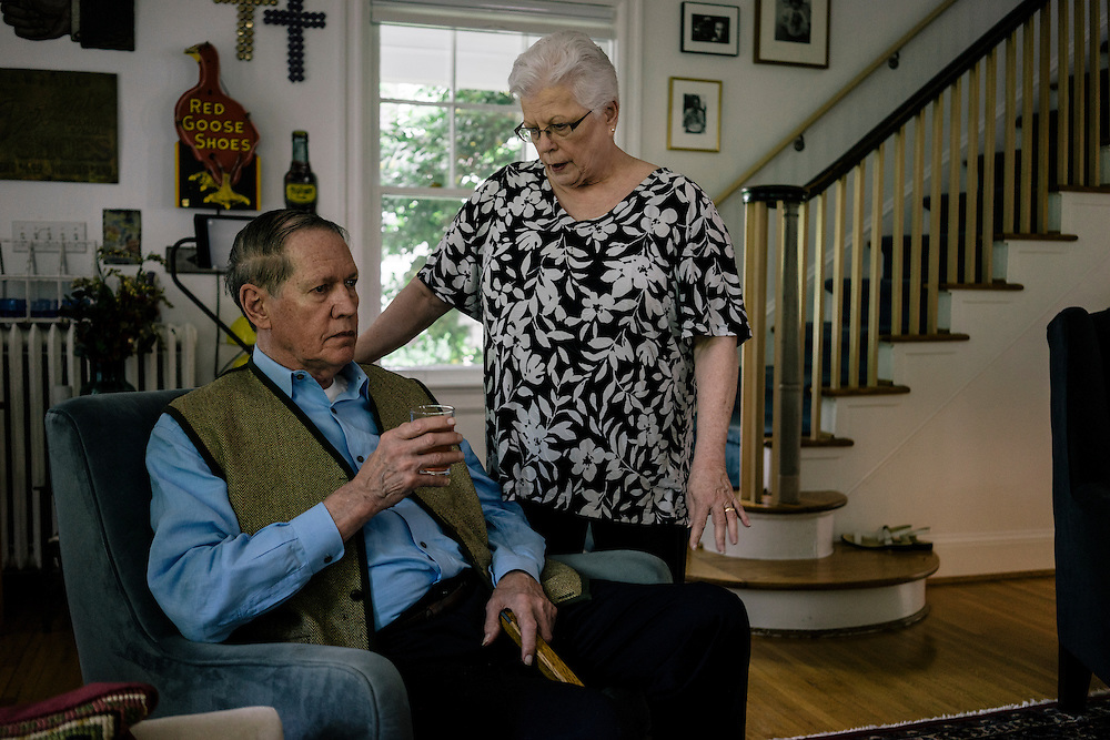 WASHINGTON, DC - MAY 12 William Christenberry rests at home with his wife Sherry in NW Washington, D.C. on May 12, 2015. (Photo by Greg Kahn/GRAIN for The Washington Post)