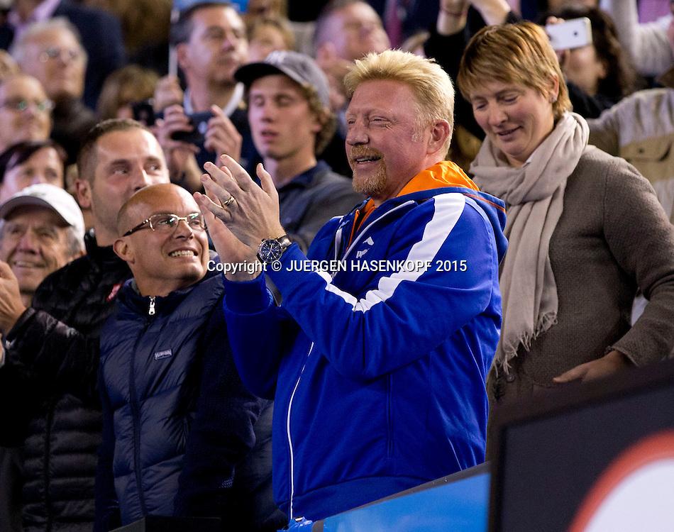Boris Becker<br /> <br /> Tennis - Australian Open 2015 - Grand Slam ATP / WTA -  Melbourne Olympic Park - Melbourne - Victoria - Australia  - 1 February 2015.