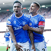 Alfredo Morelos of Rangers celebrates scoring 3rd goal with James Tavernier of Rangers during the Ladbrokes Scottish Premiership at Ibrox Stadium, Glasgow. PA Photo. Picture date: Saturday September 28, 2019. See PA story SOCCER Rangers. Photo credit should read: Robert Perry/PA Wire. RESTRICTIONS: EDITORIAL USE ONLY