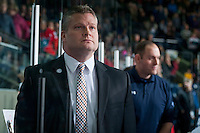 KELOWNA, CANADA - DECEMBER 3: Bob Woods, head coach of the Saskatoon Blades stands on the bench against the Kelowna Rockets on December 3, 2014 at Prospera Place in Kelowna, British Columbia, Canada.  (Photo by Marissa Baecker/Shoot the Breeze)  *** Local Caption *** Bob Woods;