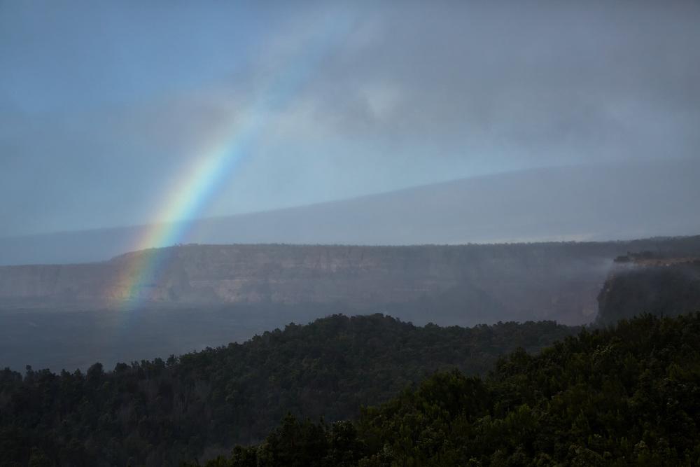Rainbow over Volcano National Park, Hawaii