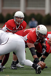 04 November 2006: Luke Drone sets up under center Jonathan St.-Pierre.&#xD;In a decisive victory, the Illinois State Redbirds defeat the Missouri State Bears 38-14 at Hancock Stadium on the campus of Illinois State University in Normal Illinois.<br />