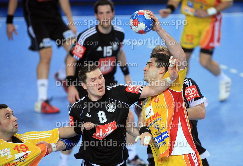 Sebastian Preiss (8) of Germany vs Kiril Lazarov (7) of Macedonia during 21st Men's World Handball Championship preliminary Group C match between FYR Macedonia and Germany, on January 21, 2009, in Arena Varazdin, Varazdin, Croatia. (Photo by Vid Ponikvar / Sportida)